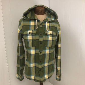 Womens Green Hollister Shirt/Hood. Size medium